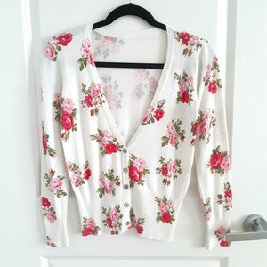 Soft cardigan knit with floral print S/P